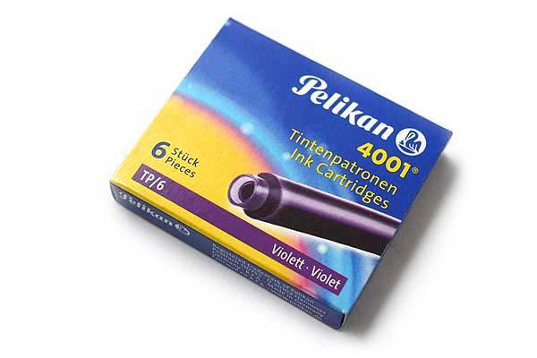 Pelikan 4001 TP/6 Fountain Pen Ink Cartridge - Violet Purple - Pack of 6 - PELIKAN 301697