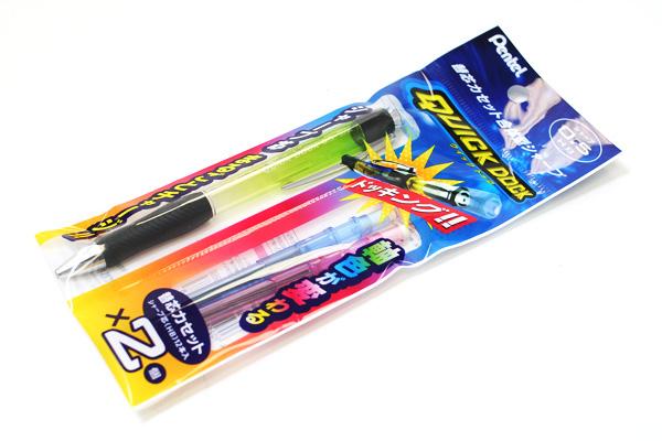 Pentel Quick Dock Sharp Pencil Set - 0.5 mm Green Pencil + Blue & Pink Lead Cassettes - PENTEL XQD5K-PS