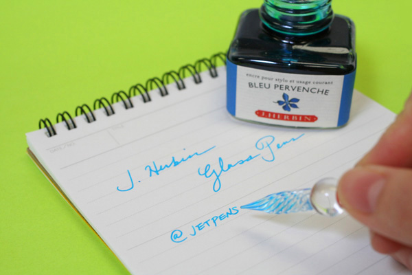 J. Herbin Tapered Body Frosted Glass Dip Pen - Large - Royal Blue Tint - J. HERBIN H212/18