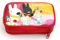 Gakken Gaspard et Lisa Double Layer Pencil Case - Large - Red - GAKKEN F170-01