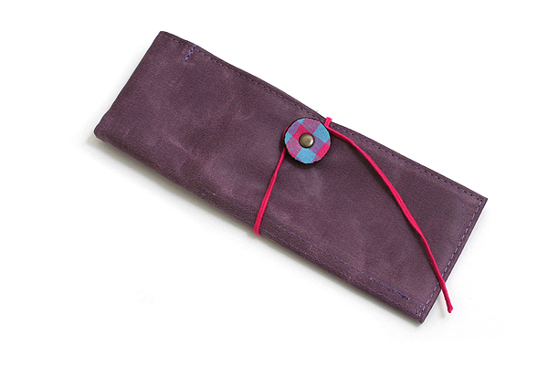 PlePle Picnic Wrap Pencil Case - Purple with Cherry Color Tie - PLEPLE PICNIC CHERRY