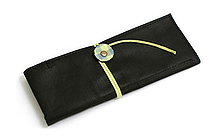 PlePle Picnic Wrap Pencil Case - Black with Lime Color Tie - PLEPLE PICNIC LIME