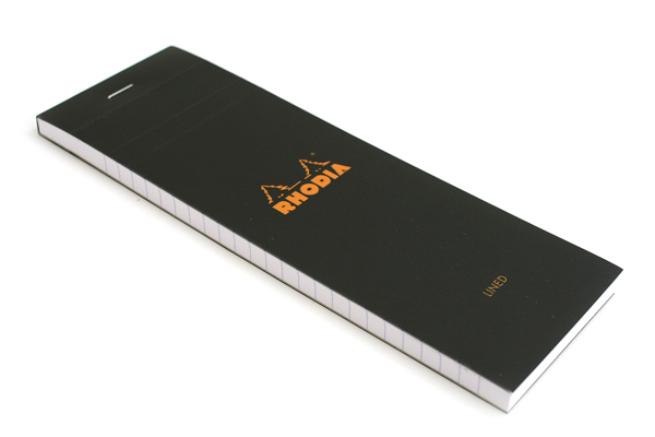 "Rhodia Pad No. 08 - 2.9"" x 8.3"" - Lined - Black - RHODIA 86009"