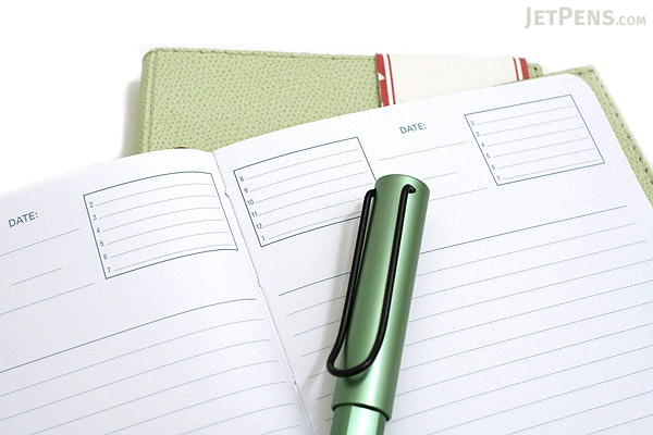 """Exacompta Club Leatherette Refillable Journal - Spring Green Cover - 5"""" X 7"""" - 192 Sheets - Lined/Undated - EXACOMPTA 1818-14"""