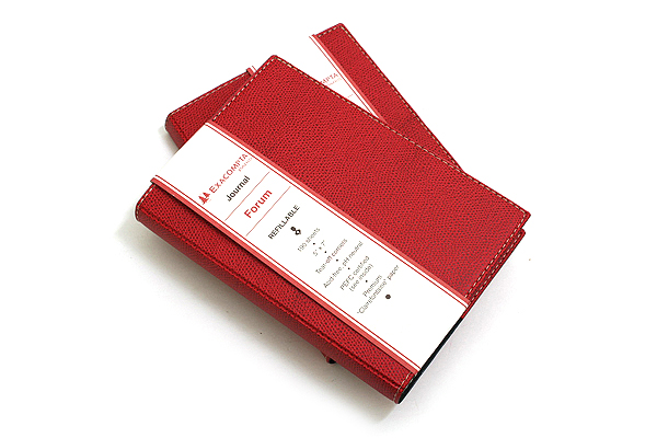 """Exacompta Club Leatherette Refillable Journal - Cherry Red Cover - 5"""" X 7"""" - 192 Sheets - Lined/Undated - EXACOMPTA 1818-5"""