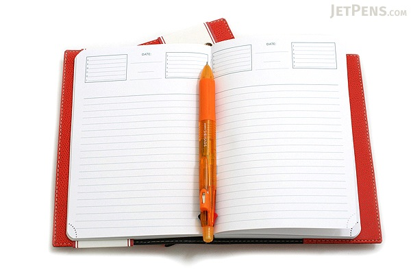 "Exacompta Club Leatherette Refillable Journal - Mandarin Orange Cover - 5"" X 7"" - 192 Sheets - Lined/Undated - EXACOMPTA 1818-7"