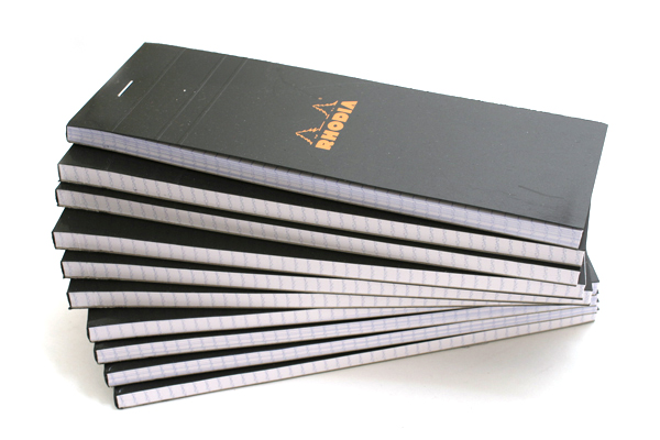 "Rhodia Pad No. 08 - Black - 2.9"" x 8.3"" - Graph - Bundle of 10 - RHODIA 82009 BUNDLE"