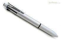 Zebra Clip-On Multi 2000 4 Color 0.7 mm Ballpoint Multi Pen + 0.5 mm Pencil - Silver Body  - ZEBRA B4SA4-S