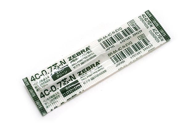 Zebra 4C-0.7 Ballpoint Pen Refill - D1 - 0.7 mm - Evergreen - ZEBRA BR-8A-4C-N-EVG
