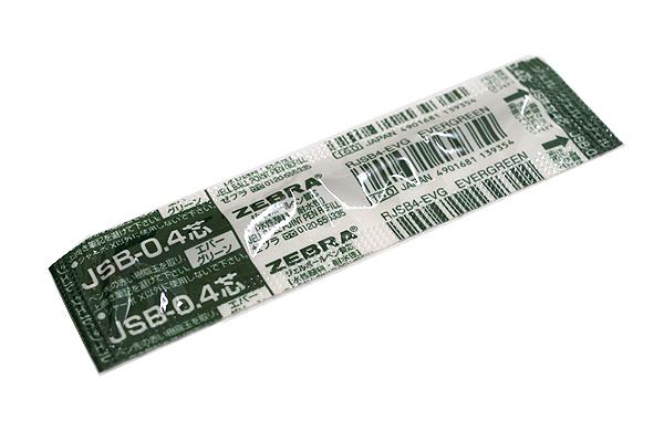 Zebra JSB-0.4 Gel Ink Pen Refill - D1 - 0.4 mm - Evergreen - ZEBRA RJSB4-EVG