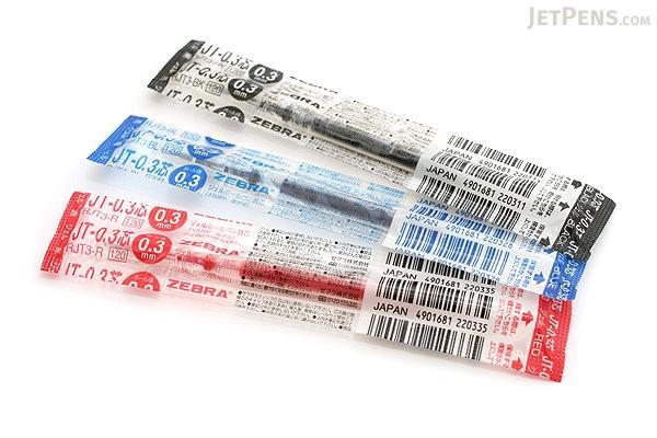 Zebra JT-0.3 Gel Ink Pen Refill - 0.3 mm - Black - ZEBRA RJT3-BK
