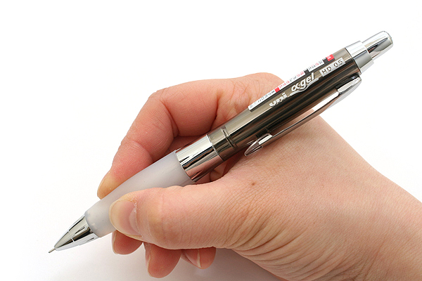 Uni Alpha Gel HD Shaka Shaker Mechanical Pencil - 0.5 mm - Chrome Black Body - White Grip - UNI M5618GG1PC.24