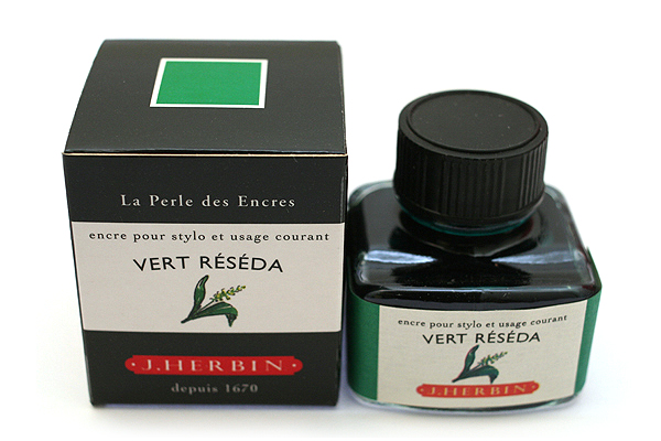J. Herbin Fountain Pen Ink - 30 ml Bottle - Vert Réséda (Reseda Green) - J. HERBIN H130/38