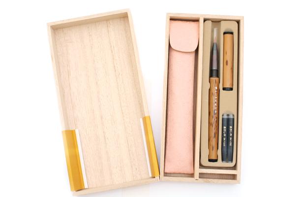 Akashiya Natural Bamboo Brush Pen + Pink Silk Case + Cartridges Set - AKASHIYA AK-05T