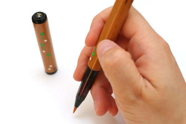 Akashiya Natural Bamboo Brush Pen - Clover Carving - AKASHIYA AK-200C-36