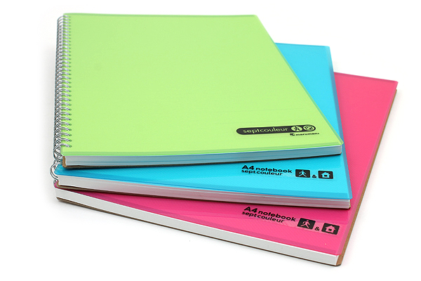 Maruman Sept Couleur Notebook - A4 - 7 mm Rule - 80 Sheets - Teal - Bundle of 5 - MARUMAN N570-52 BUNDLE