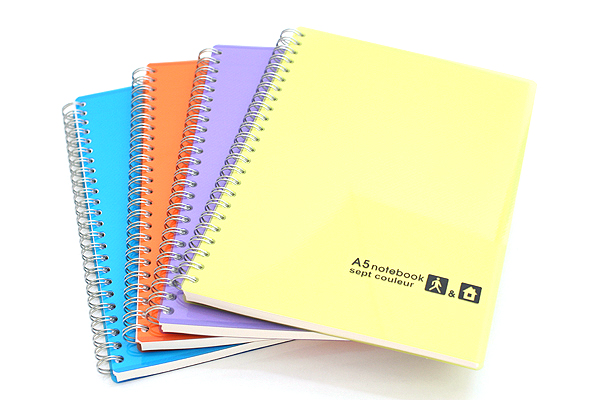 Maruman Sept Couleur Notebook - A5 - 7 mm Rule - 26 Lines - 80 Sheets - Yellow - Bundle of 5 - MARUMAN N572-04 BUNDLE