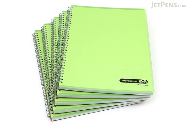 Maruman Sept Couleur Notebook - A4 - 7 mm Rule - 80 Sheets - Green - Bundle of 5 - MARUMAN N570-03 BUNDLE