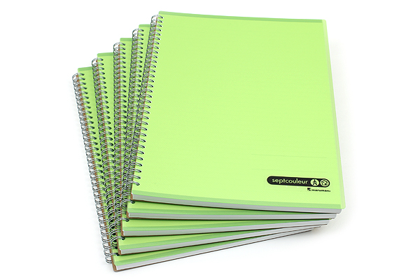 Maruman Sept Couleur Notebook - A4 - 7 mm Rule - 80 Sheets - Green - Bundle of 5 - MARUMAN N570-03 BUNDLE