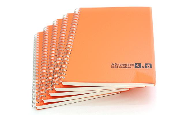 Maruman Sept Couleur Notebook - A5 - 7 mm Rule - 26 Lines - 80 Sheets - Orange - Bundle of 5 - MARUMAN N572-09 BUNDLE