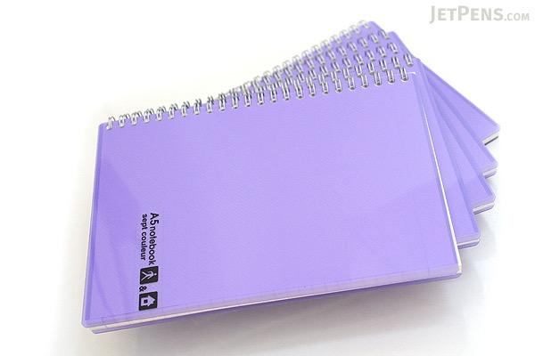 Maruman Sept Couleur Notebook - A5 - 7 mm Rule - 26 Lines - 80 Sheets - Purple - Bundle of 5 - MARUMAN N572-10 BUNDLE