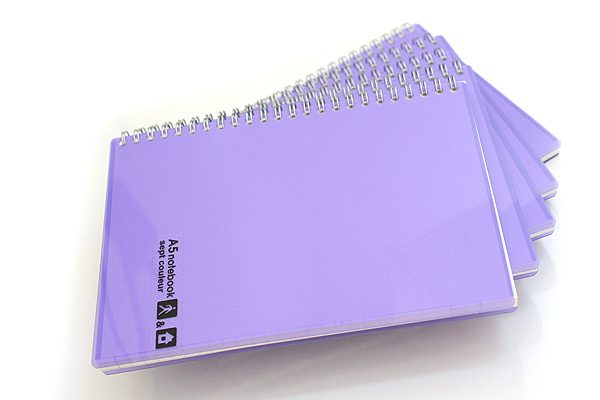 Maruman Sept Couleur Notebook - A5 - 7 mm Rule - 26 Lines - 80 Sheets - Purple - Bundle of 5 - MARUMAN N572-10 BUNDLE