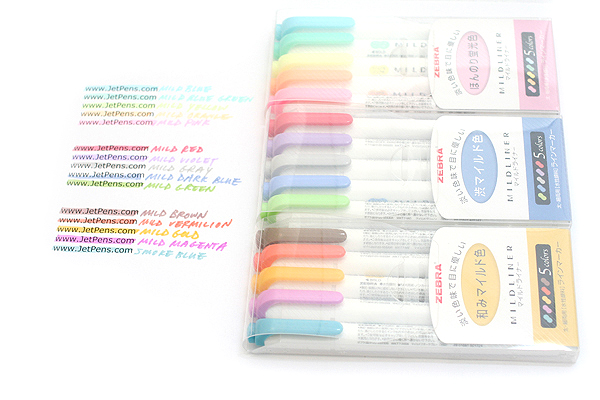 Zebra Mildliner Double-Sided Highlighter - Fine / Bold - 5 Mild & Fluorescent Color Set - ZEBRA WKT7-5C
