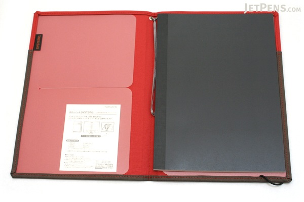 Kokuyo Systemic Refillable Notebook Cover - Semi B5 - Normal Rule - Red/Gray - KOKUYO NO-653A-2