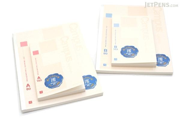 "Kokuyo Campus High Grade MIO Paper Pocket Notebook - 5.7"" X 3.4"" - 21 Lines X 103 Sheets - Blue Accents - Bundle of 5 - KOKUYO NO-GG220PB BUNDLE"