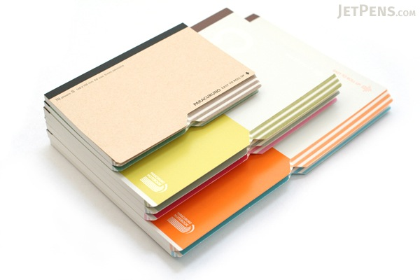 "Kokuyo Campus Paracuruno Slanted Page Notebook - Semi B5 (7"" X 9.8"") - 30 Lines - 80 Sheets - Orange - Bundle of 5 - KOKUYO NO-R8A-YR BUNDLE"