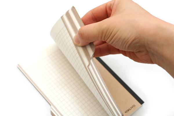 "Kokuyo Design Paracuruno Slanted Page Notebook - A6 (4.1"" X 5.8"") - 5 mm X 5 mm Graph - 70 Sheets - Khaki Brown - Bundle of 10 - KOKUYO NO-RD227S BUNDLE"