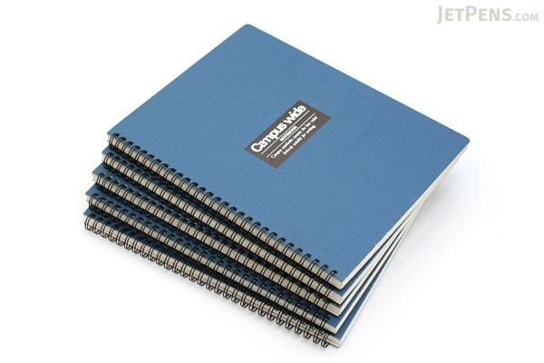 "Kokuyo Campus Wide Twin Ring Notebook - Special B5 (7.5"" X 10"") - 30 Lines - 70 Sheets - Blue - Bundle of 5 - KOKUYO SU-T30A-B BUNDLE"