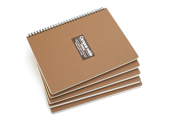 "Kokuyo Campus Wide Twin Ring Notebook - Special B5 (7.5"" X 10"") - 30 Lines - 70 Sheets - Khaki Brown - Bundle of 5 - KOKUYO SU-T30A-S BUNDLE"