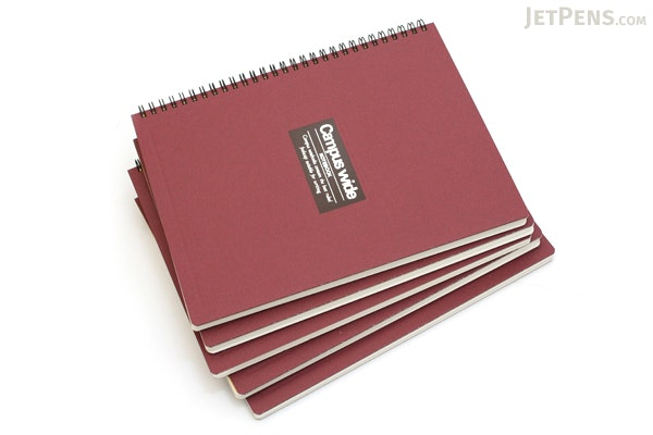 "Kokuyo Campus Wide Twin Ring Notebook - Special B5 (7.5"" X 10"") - 35 Lines - 70 Sheets - Red - Bundle of 5 - KOKUYO SU-T30B-R BUNDLE"
