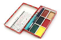 Kuretake Little Red Gift Set - 6 Watercolor Palettes + Super Fine Hard Brush + Waterbrush Pen - KURETAKE MC23-1