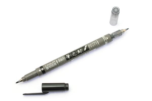 Tombow Fudenosuke Brush Pen - Double-Sided - Gray/Black Ink - TOMBOW GCD-121