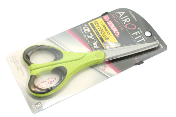 Kokuyo AiroFit Non-Stick Scissors - Slim Handle - Green Grip - KOKUYO HASA-P200NYG