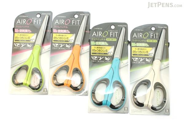 Kokuyo AiroFit Non-Stick Scissors - Slim Handle - Yellow Grip - KOKUYO HASA-P200NYR