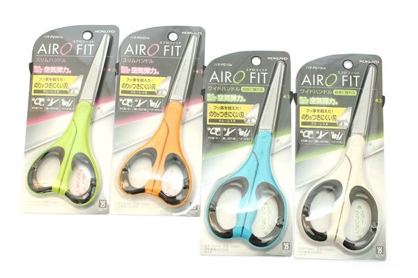 Kokuyo AiroFit Non-Stick Scissors - Wide Handle - White Grip - KOKUYO HASA-P210NLM