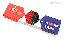 Uni Mitsubishi Vermilion and Prussian Blue Pencil - 5:5 - Hexagonal Body - Pack of 12 - UNI K772 BUNDLE
