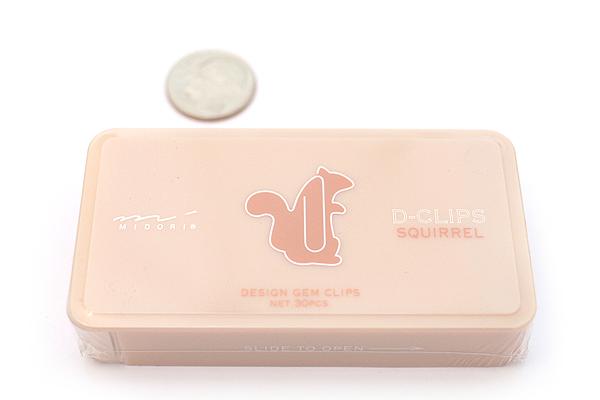 Midori D-Clips Paper Clips - Pet Series - Squirrel - Box of 30 - MIDORI 43186-006