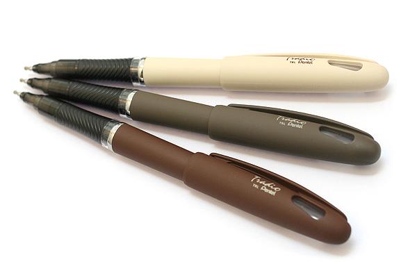 Pentel Tradio EnerGel Combo Gel Pen - Nature Matte Body - 0.7 mm - White Body - Black Ink - PENTEL TRL92W-A