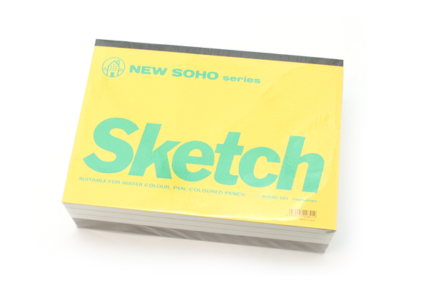 "Maruman New Soho Series Sketchbook - B5 (6.9"" X 9.8"") - 126.5g / sq m Paper - 70 Sheets - Bundle of 5 - MARUMAN SOHO101-04 BUNDLE"