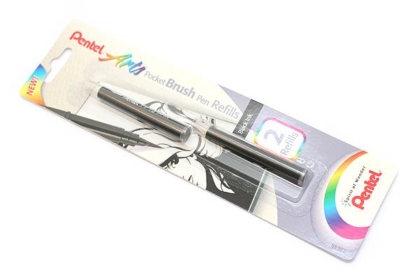 Pentel Pocket Brush Pen Refill Cartridges - Black - Pack of 2 - PENTEL FP10BP2A