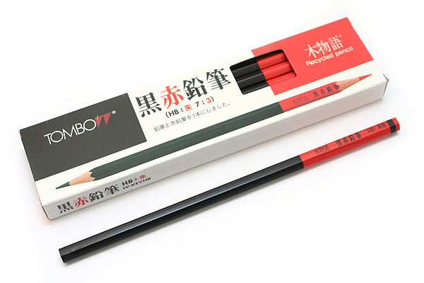 Tombow Recycled Wood Black & Red Wooden Pencil - 7:3 - Pack of 12 - TOMBOW LV-KEVHB