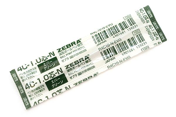 Zebra 4C-1.0 Ballpoint Pen Refill - D1 - 1.0 mm - Evergreen - ZEBRA R4C10-N-EVG