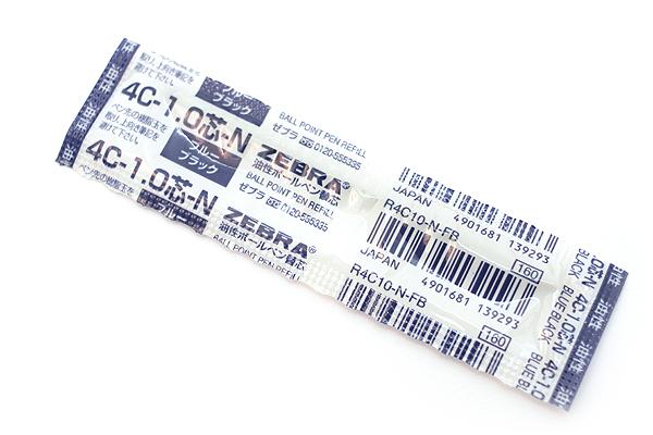 Zebra 4C-1.0 Ballpoint Pen Refill - D1 - 1.0 mm - Blue Black - ZEBRA R4C10-N-FB