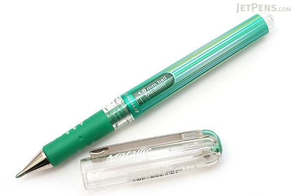Pentel Hybrid Gel Grip DX Gel Pen - 1.0 mm - Metallic Green - PENTEL K230-MD
