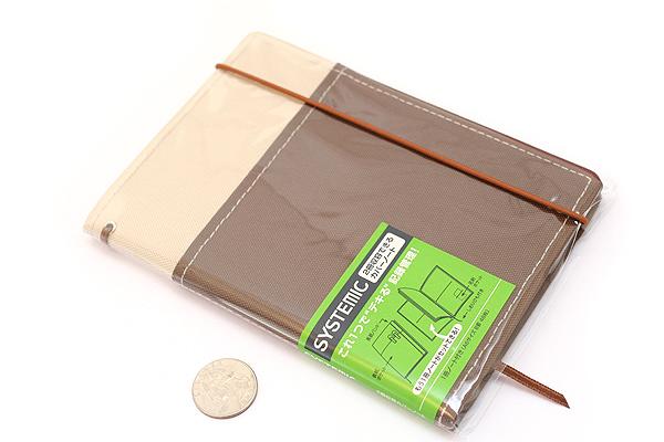 "Kokuyo Systemic Refillable Notebook Cover - A6 (4.1"" X 5.8"") - Khaki / Brown - Pack of 5 - KOKUYO NO-659B-3 BUNDLE"