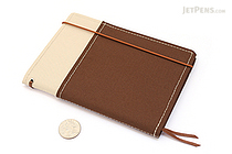 Kokuyo Systemic Refillable Notebook Cover - A6 - Khaki/Brown - KOKUYO NO-659B-3